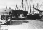 German trucks at a pier at Tallinn, Estonia, 18 Sep 1941