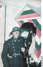 Bulgarian soldier at a guard post, Sofia, Bulgaria, circa 1942