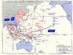 Map of situation the Pacific War as of 1 Nov 1943, showing one Allied offensive plan at that time