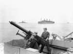 2-pounder anti-aircraft gun aboard HMCS Assiniboine en route between Halifax, Nova Scotia, Canada and Britain, 10 Jul 1940