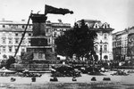 German occupation administration destroying Adam Mickiewicz Monument in Kraków, Poland, 17 Aug 1940