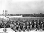 SS, NSKK, NSFK and SS formations parading at a Nazi Party rally in Nürnberg, Germany, 10 Sep 1938