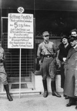 Nazi SA men boycotting a Jewish store in Germany, 1 Apr 1933