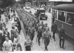 Nazi Party members of the SA organization parading in Spandau, Berlin, Germany, 1932