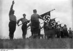 Nazi Party SA men in formation with flags, Döberitz, Brandenburg, Germany, 1932