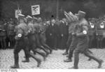 Nazi German official Dr. Alfred Hugenberg observing a SA parade, Bad Harzburg, Germany, 11 Oct 1931