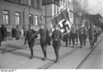 German Nazi SA men in parade, Braunschweig, Germany, Apr 1932