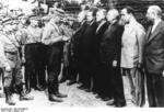 German SA men with political prisoners at Oranienburg Concentration Camp, Brandenburg, Germany, Aug 1933