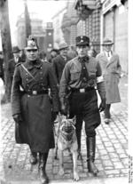 Berlin city police and a Nazi Party member on the streets of Berlin, Germany on 5 Mar 1933, which was an election day
