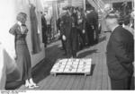 Members of the German SS organization playing games aboard a cruise ship operated by the KdF (Kraft durch Freude,