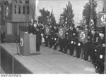 SS-Hauptsturmführers Walther Wüst speaking at a SS gathering, München, Germany, 10 Mar 1937