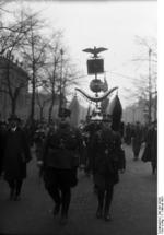 Members of the Nazi Party Studen League on march along the Unter den Linden, Berlin, Germany, 7 Feb 1934