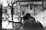 Troops of Soviet 3rd Ukrainian Front fighting in Budapest, Hungary, 5 Feb 1945