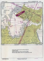 Aviation Approach Chart for Naval Air Station Kaneohe, Oahu, US Territory of Hawaii, dated 1 Jul 1944