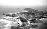 Aerial view from the southwest on approach to NAS Kaneohe, Oahu, US Territory of Hawaii, 1945; note Mokapu Point beyond the airstrip