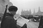 Soviet soldier reading the Pravda newspaper in Moscow, Russia, Oct-Dec 1941