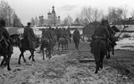 Soviet cavalry entering a Russian town, 15 Dec 1941