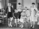 Russian children, wounded by German bombing, in a hospital in Moscow, Russia, 1 Apr 1942