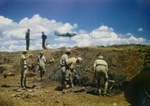 Maintenance work at the Kunming airfield in Yunnan Province, China, circa 1944