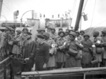 African-American US Army nurses waiting to disembark from the transport that brought them to Greenock, Scotland, UK, 15 Aug 1944
