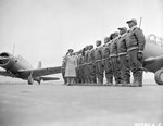 Major James A. Ellison reviewed the first class of Tuskegee cadets, Tuskegee, Alabama, United States, 1941, photo 2 of 2; note Vultee BT-13 trainer aircraft