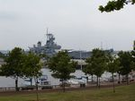 Battleship New Jersey seen from nearby park, 14 Jun 2004