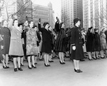 New WAVES and SPARS enlistees taking the oath in a ceremony held in front of New York City Hall, New York, United States, 8 Feb 1943