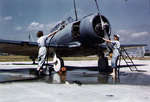 WAVES personnel washing a SNJ training aircraft, Naval Air Station, Jacksonville, Florida, United States, circa 1943-1945; note SNB aircraft in background