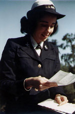 WAVES seaman reading a letter, circa 1943-1945
