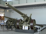 Type 89 15-cm cannon on display at Yushukan Museum, Tokyo, Japan, 7 Sep 2009, photo 1 of 3; note Type 96 15-cm howitzer in background