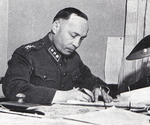 Finnish Army Colonel Aksel Airo in his office, Helsinki, Finland, circa late 1939 or early 1940