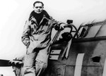 Douglas Bader posing with his Hurricane fighter, 1940
