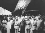 Chinese leaders at the Mausoleum of Sun Yatsen celebrating the conclusion of the Northern Expedition, 6 Jul 1928; note Bai Chongxi at far left of photo