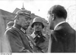 German President Paul von Hindenburg, War Minister Werner von Blomberg, and Chancellor Adolf Hitler at Potsdam, Germany, 21 Mar 1933