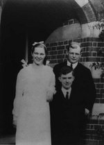 Dietrich Bonhoeffer with confirmation candidates Ingrid and John Kruesemann, Sydenham, London, UK, 1934