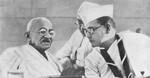 Subhash Chandra Bose and Mohandas Gandhi at the annual meeting of the Indian National Congres, Haripura, India, 1938, photo 1 of 2