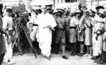 Subhash Chandra Bose arriving at the All India Congress Committee of the Indian National Congress, 1939