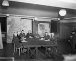 Bradley, Ramsay, Tedder, Eisenhower, Montgomery, Leigh-Mallory, and Smith at a SHAEF conference in London, England, United Kingdom, 1 Feb 1944, photo 2 of 7
