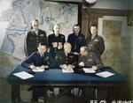 Bradley, Ramsay, Tedder, Eisenhower, Montgomery, Leigh-Mallory, and Smith at a SHAEF conference in London, England, United Kingdom, 1 Feb 1944, photo 7 of 7