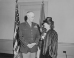 Omar Bradley and his wife after being sworn in as the Chief of Staff of the US Army, Pentagon, Arlington, Virginia, United States, 7 Feb 1948