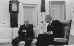 US President Lyndon B. Johnson speaking to Omar Bradley, White House, Washington DC, United States, 2 Jul 1968, photo 1 of 2