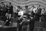 Semyon Budyonny handing his saber to the 16th Congress of the Komsomols, Moscow, Russia, 30 May 1970