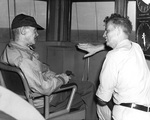 Vice Admiral Mitscher and Commodore Burke aboard carrier Randolph off Okinawa, Japan, 1945, photo 2 of 2