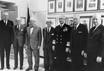 Admirals Anderson, Denfield, Stark, Carney, Moorer, Radford, and Burke, spring 1968; all had once been Chief of Naval Operations of the US Navy, with Moorer being the current office holder