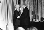 Burke receiving the Medal of Freedom from US President Gerald Ford, the White House, Washington, DC, United States, 10 Jan 1977