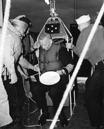 Burke immediately after being transferred by highlining from USS Gyatt to USS Boxer, Mar 1959