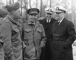 Major General Burger, Lieutenant General Pollock, Vice Admiral Towner, and Admiral Burke attending an amphibious exercise at Onslo Beach, North Carolina, United States, 20 Mar 1959