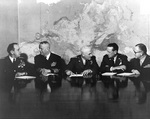 General Lemnitzer, Admiral Burke, General Twining, General White, and General Shoup in meeting with other US military leaders at the Pentagon, Arlington, Virginia, United States, 10 Feb 1960