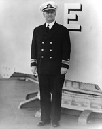Lieutenant Commander Burke aboard his destroyer, Mugford, circa 1939-1940
