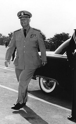 Admiral Burke arriving for a conference at Camp Voluceau, near Paris, France, during Operation